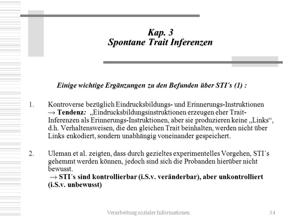 Kap. 3 Spontane Trait Inferenzen