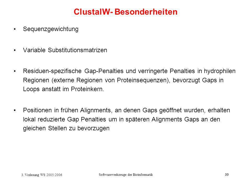ClustalW- Besonderheiten