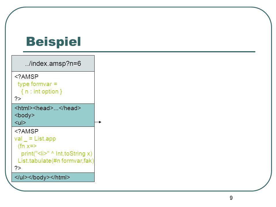 Beispiel ../index.amsp n=6 < AMSP type formvar = { n : int option }