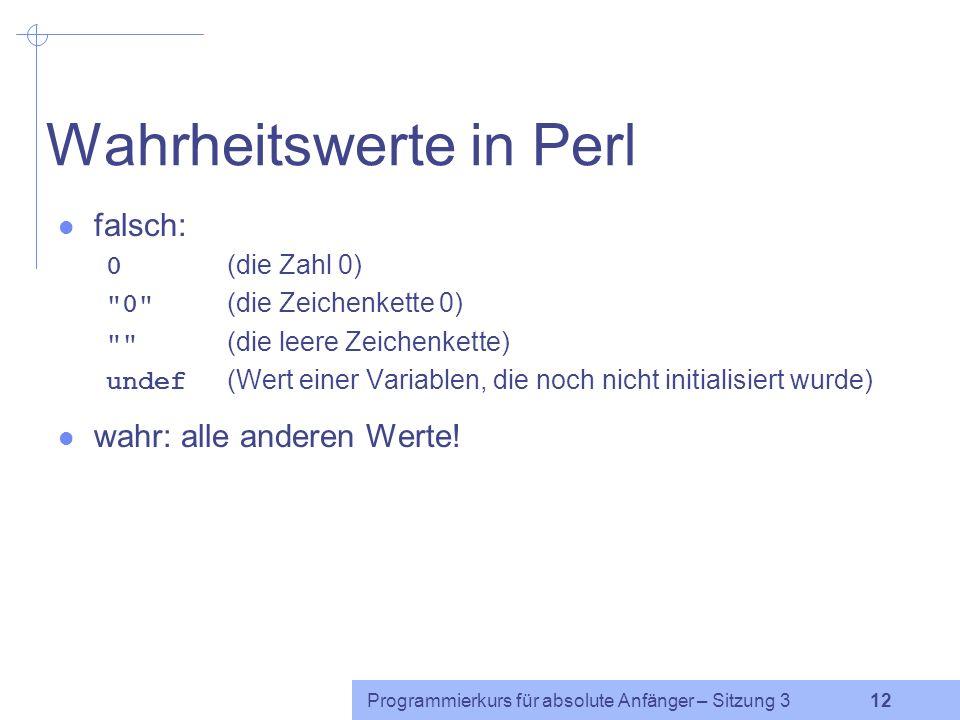 Wahrheitswerte in Perl
