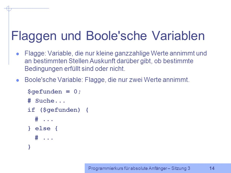 Flaggen und Boole sche Variablen