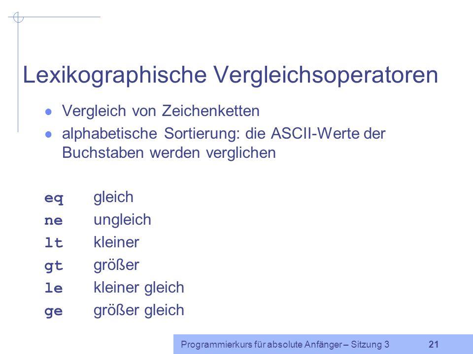 Lexikographische Vergleichsoperatoren