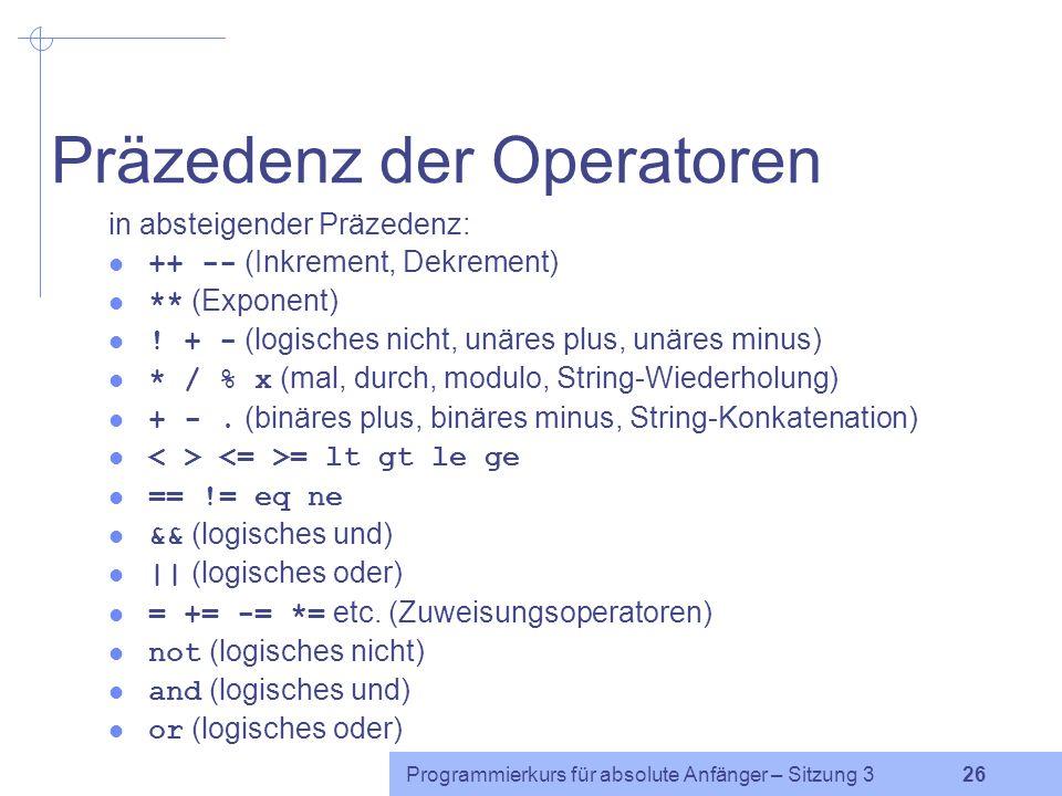 Präzedenz der Operatoren