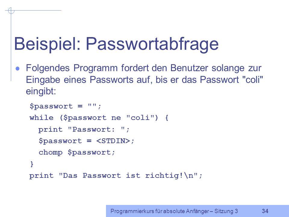 Beispiel: Passwortabfrage