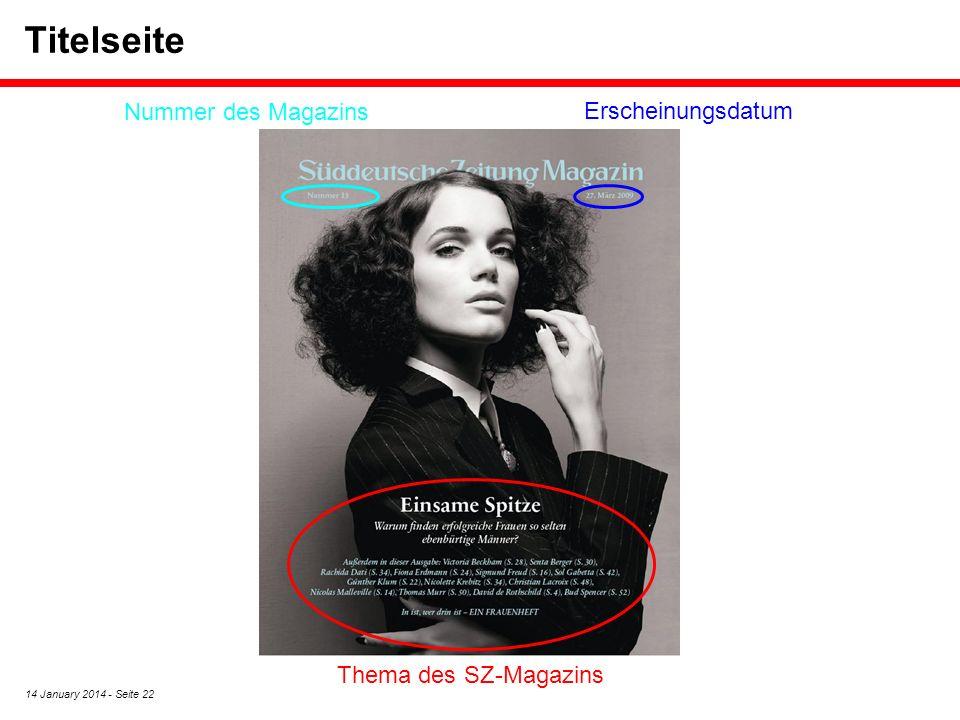 Titelseite Nummer des Magazins Erscheinungsdatum Thema des SZ-Magazins