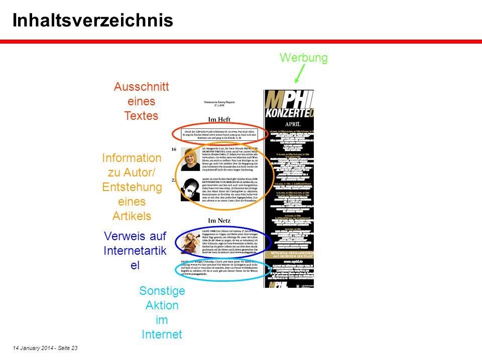 Inhaltsverzeichnis Werbung Ausschnitt eines Textes
