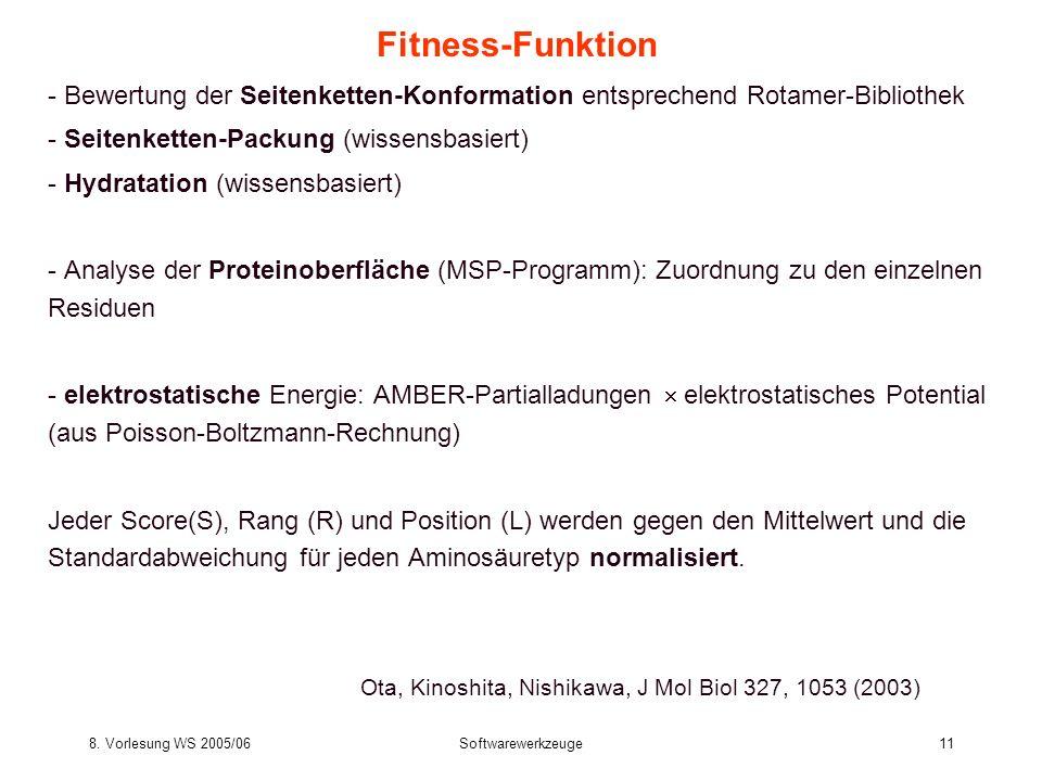 Fitness-Funktion- Bewertung der Seitenketten-Konformation entsprechend Rotamer-Bibliothek. - Seitenketten-Packung (wissensbasiert)