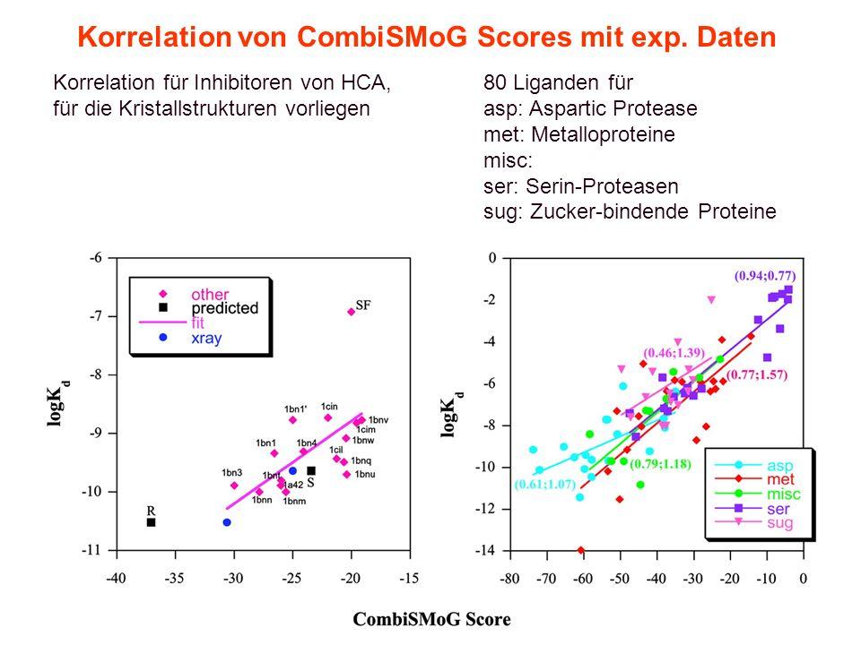 Korrelation von CombiSMoG Scores mit exp. Daten