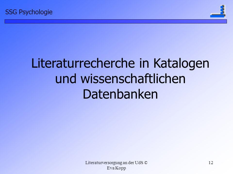 Literaturrecherche in Katalogen und wissenschaftlichen Datenbanken