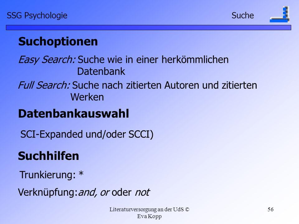 Suchoptionen Datenbankauswahl Suchhilfen