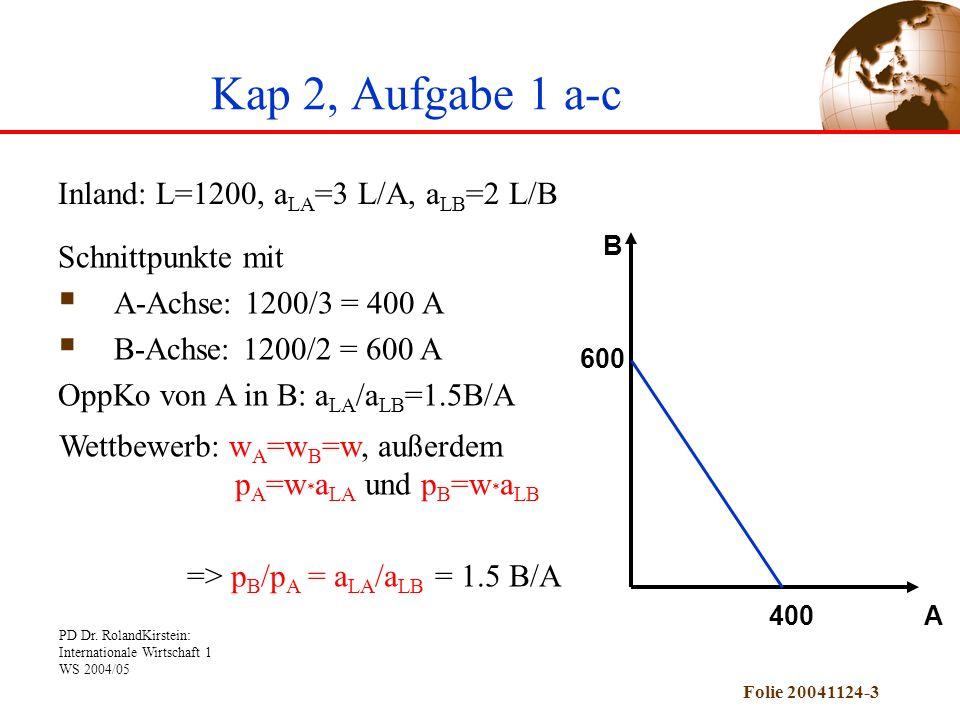 Kap 2, Aufgabe 1 a-c Inland: L=1200, aLA=3 L/A, aLB=2 L/B