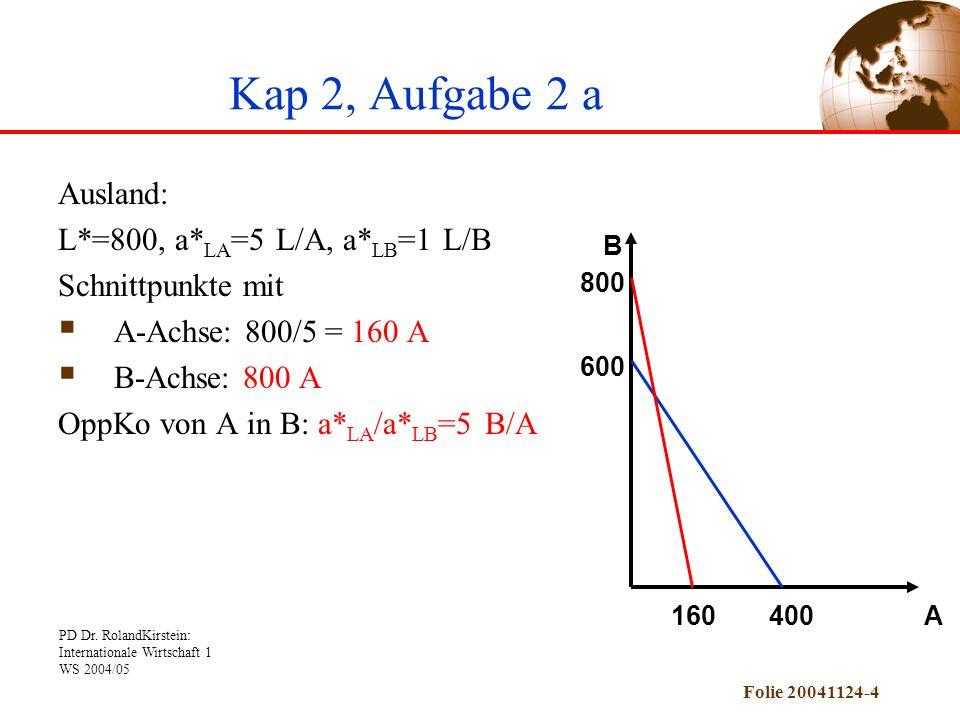 Kap 2, Aufgabe 2 a Ausland: L*=800, a*LA=5 L/A, a*LB=1 L/B