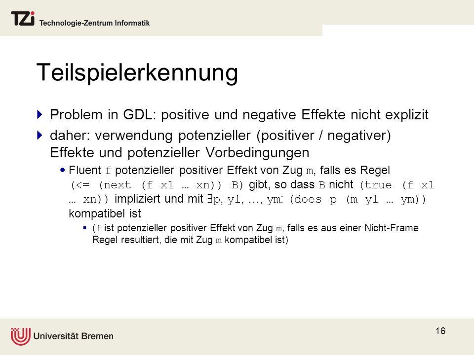 Teilspielerkennung Problem in GDL: positive und negative Effekte nicht explizit.