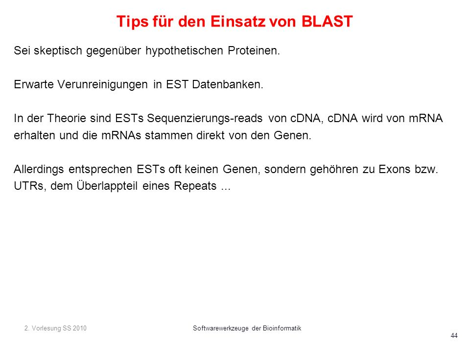 Tips für den Einsatz von BLAST