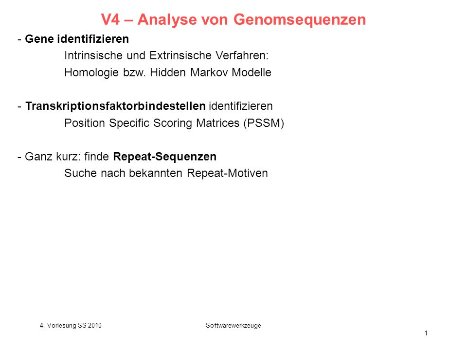 V4 – Analyse von Genomsequenzen