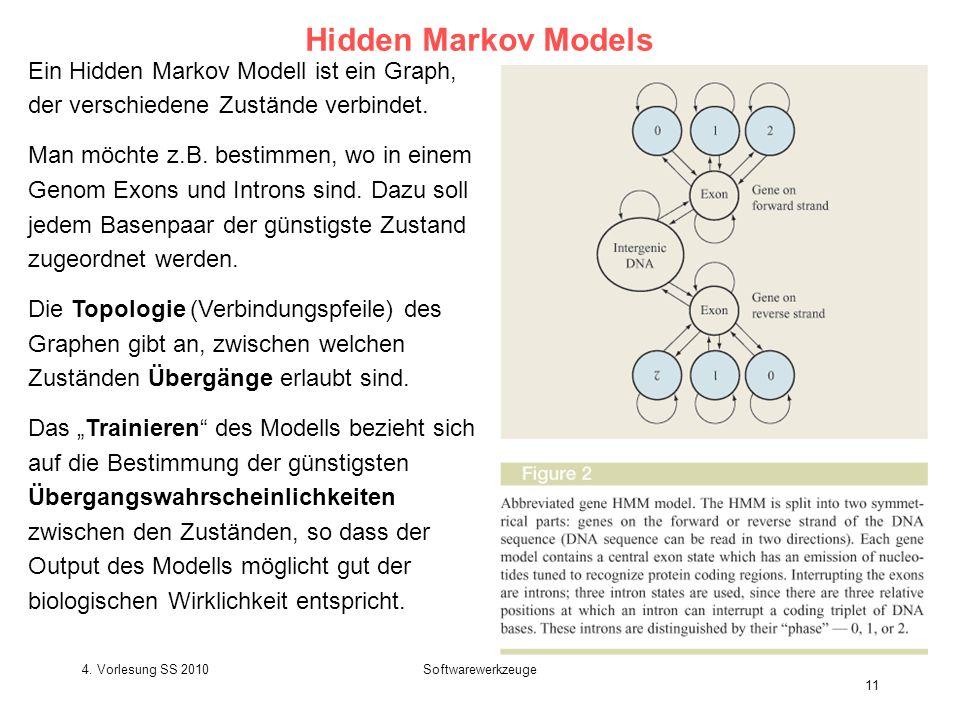 Hidden Markov Models Ein Hidden Markov Modell ist ein Graph, der verschiedene Zustände verbindet.