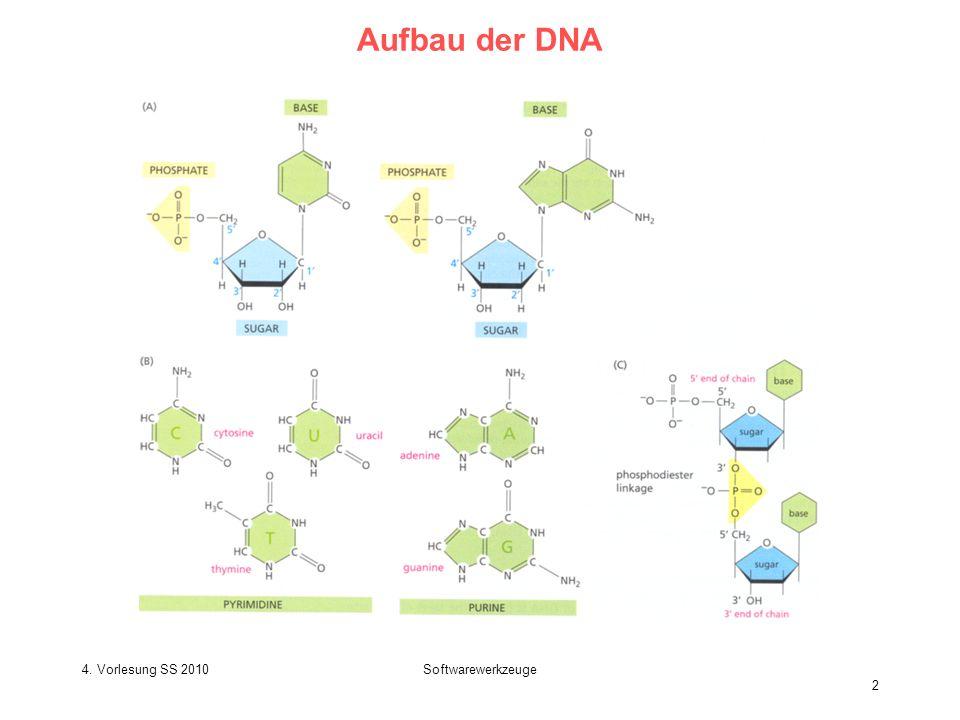Aufbau der DNA 4. Vorlesung SS 2010 Softwarewerkzeuge