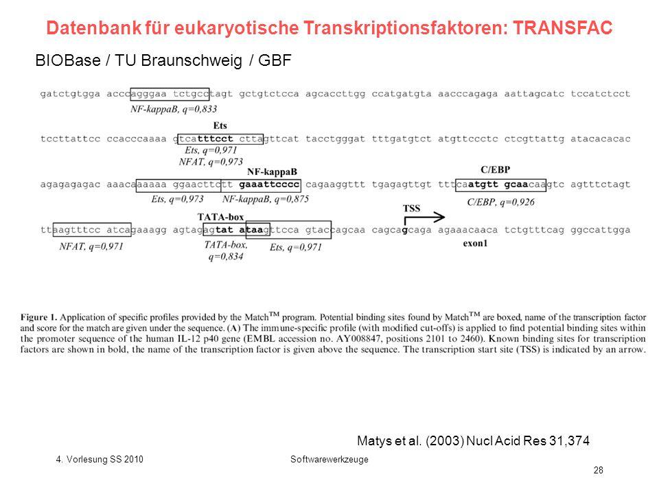 Datenbank für eukaryotische Transkriptionsfaktoren: TRANSFAC