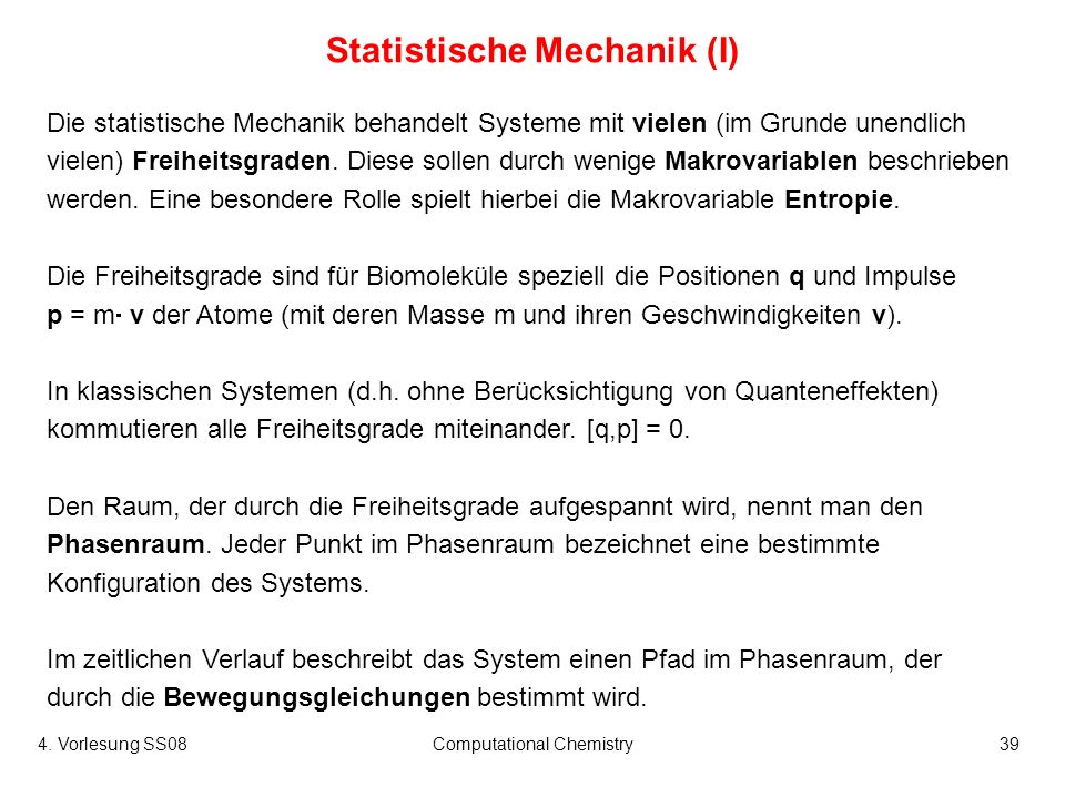 Statistische Mechanik (I)