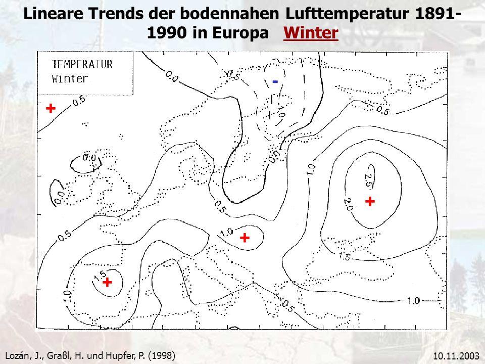 Lineare Trends der bodennahen Lufttemperatur 1891-1990 in Europa Winter