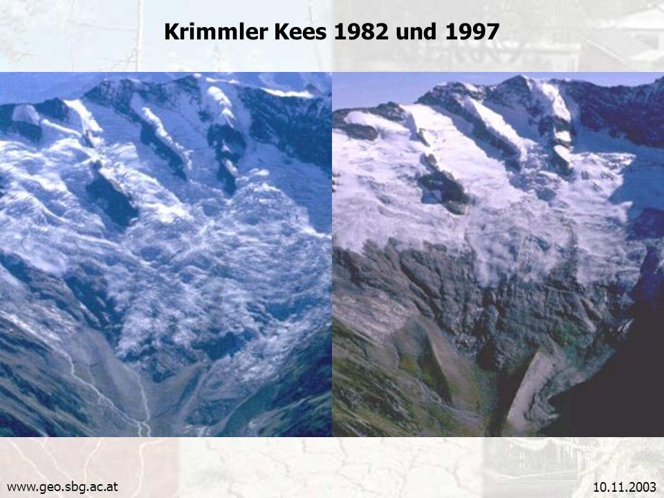 Krimmler Kees 1982 und 1997 www.geo.sbg.ac.at 10.11.2003