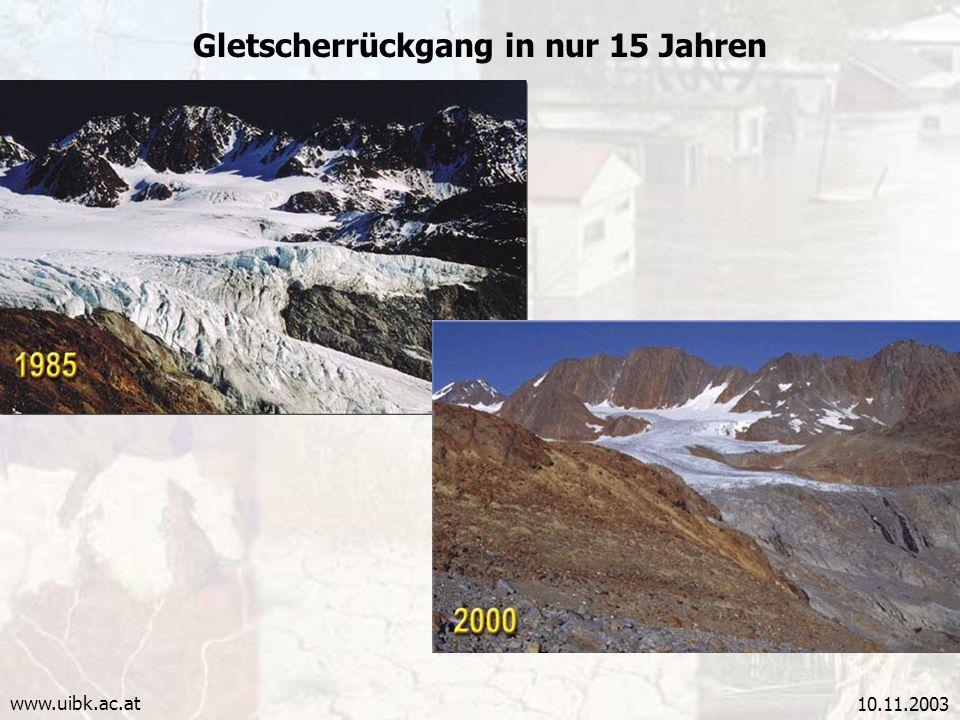 Gletscherrückgang in nur 15 Jahren