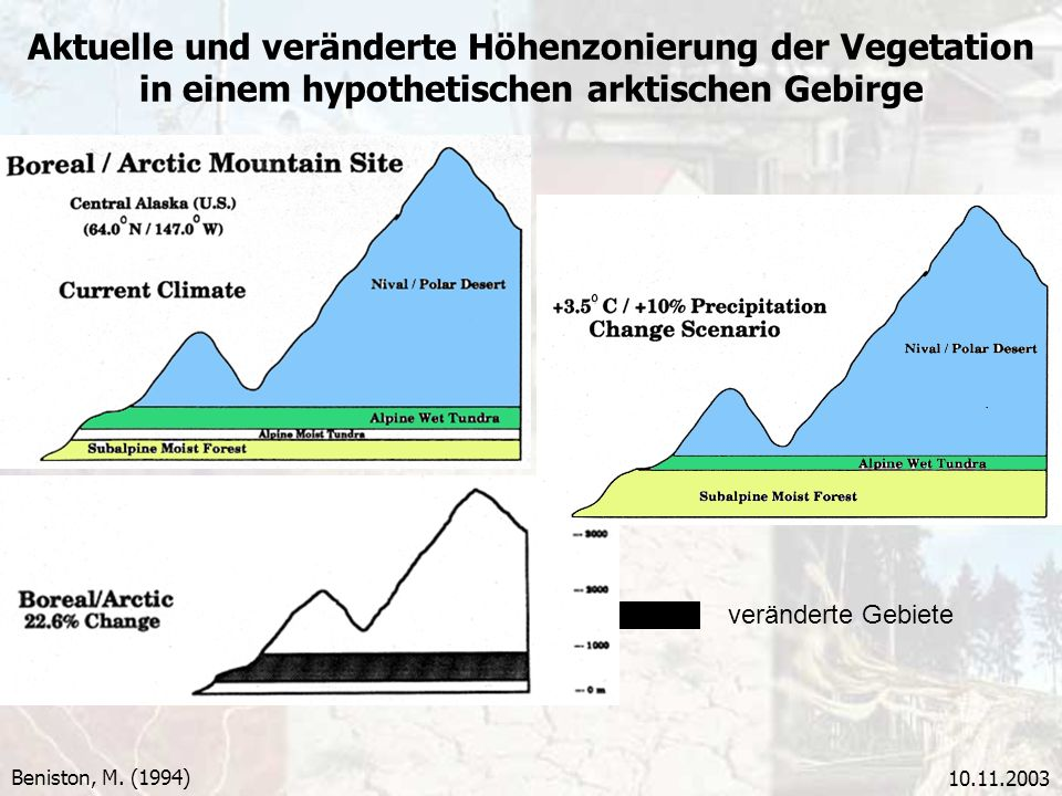 Aktuelle und veränderte Höhenzonierung der Vegetation in einem hypothetischen arktischen Gebirge