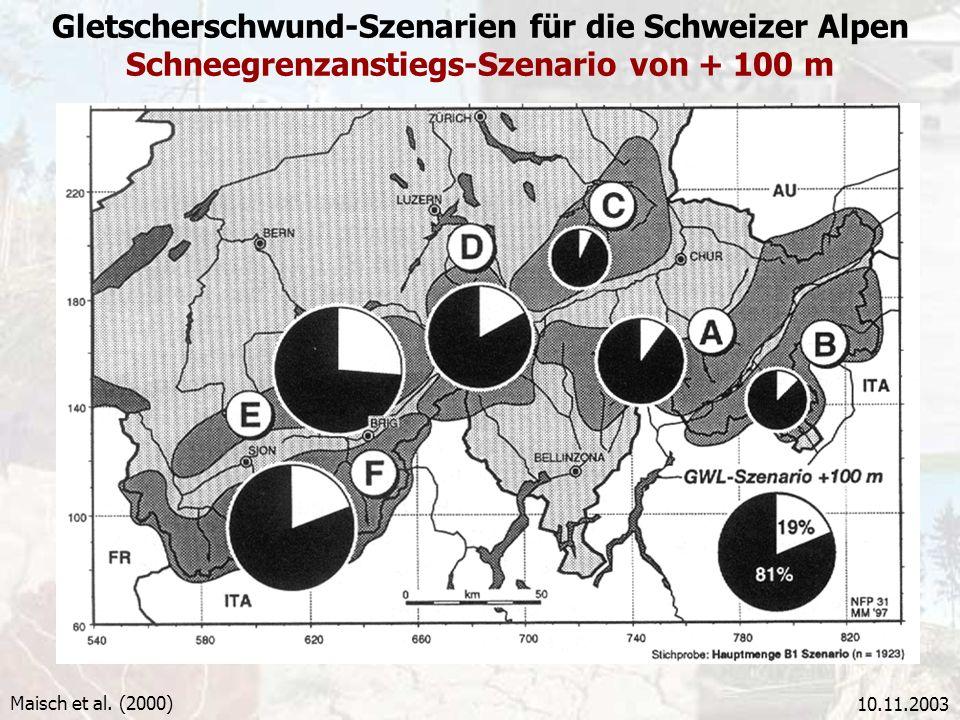 Gletscherschwund-Szenarien für die Schweizer Alpen Schneegrenzanstiegs-Szenario von + 100 m
