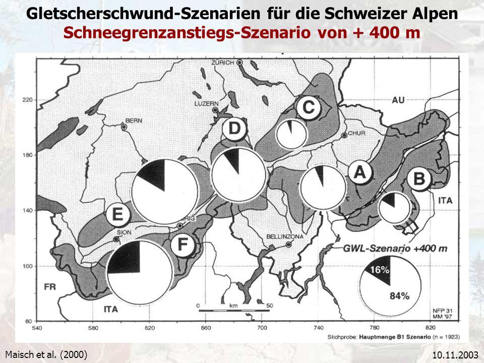 Gletscherschwund-Szenarien für die Schweizer Alpen Schneegrenzanstiegs-Szenario von + 400 m