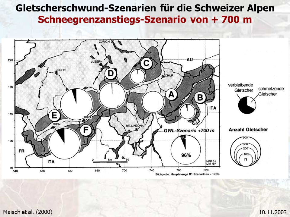 Gletscherschwund-Szenarien für die Schweizer Alpen Schneegrenzanstiegs-Szenario von + 700 m
