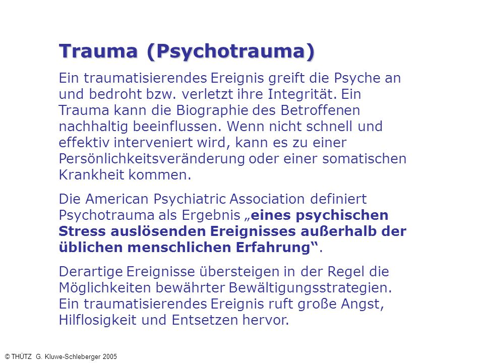 Trauma (Psychotrauma)