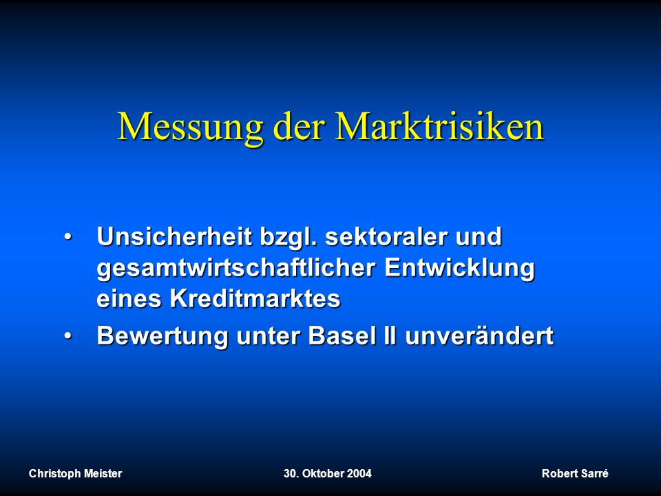 Messung der Marktrisiken
