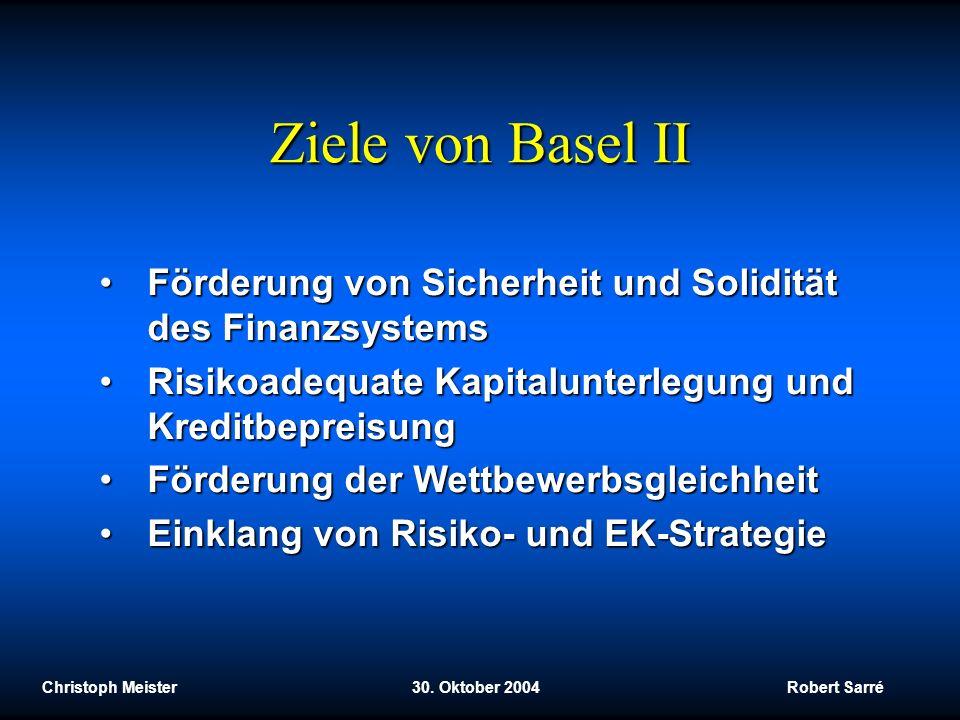 Ziele von Basel II Förderung von Sicherheit und Solidität des Finanzsystems. Risikoadequate Kapitalunterlegung und Kreditbepreisung.