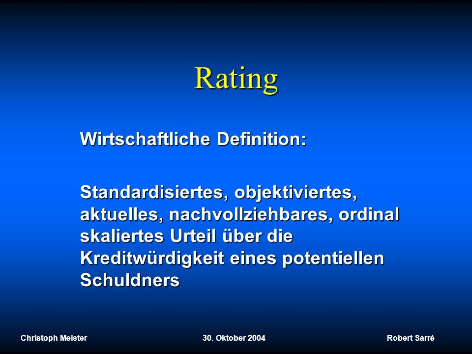 Rating Wirtschaftliche Definition: