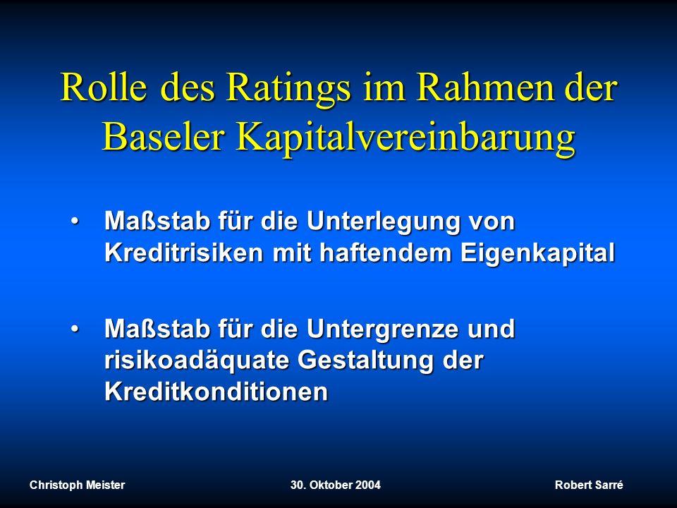 Rolle des Ratings im Rahmen der Baseler Kapitalvereinbarung