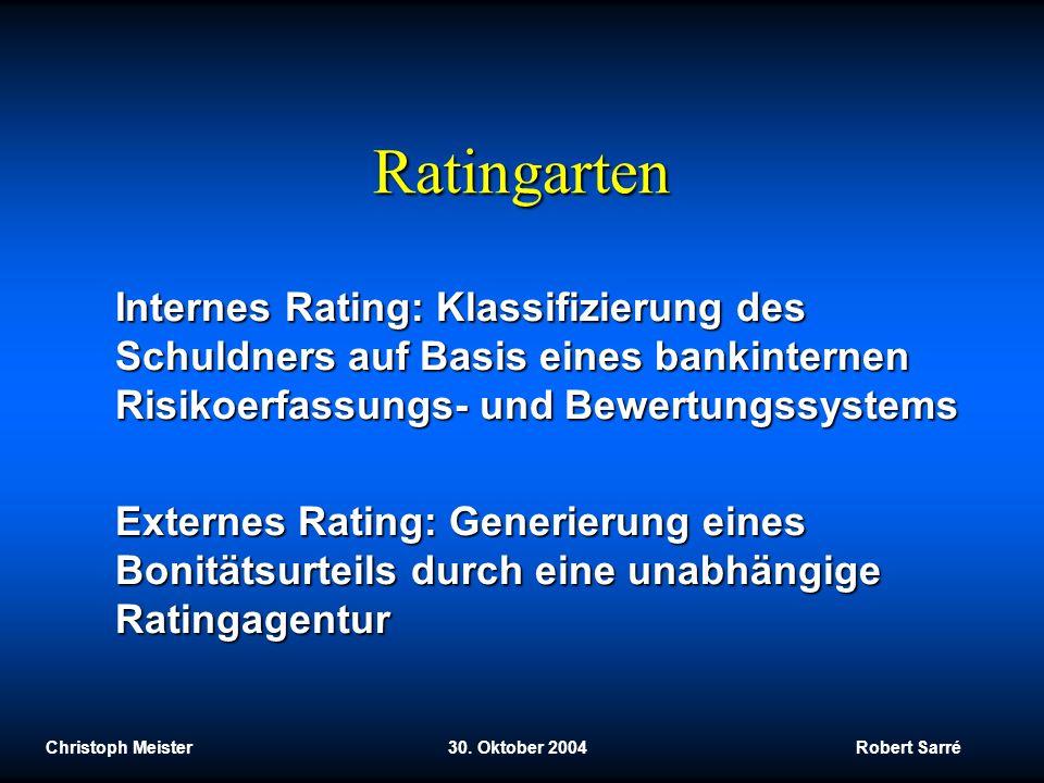 Ratingarten Internes Rating: Klassifizierung des Schuldners auf Basis eines bankinternen Risikoerfassungs- und Bewertungssystems.
