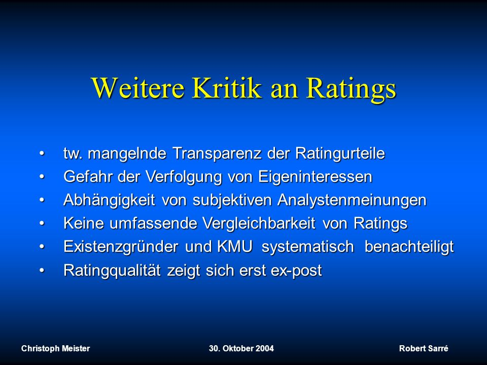 Weitere Kritik an Ratings