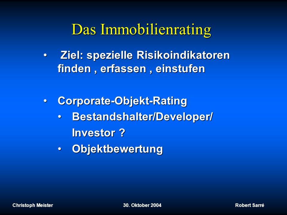 Das Immobilienrating Ziel: spezielle Risikoindikatoren finden , erfassen , einstufen. Corporate-Objekt-Rating.