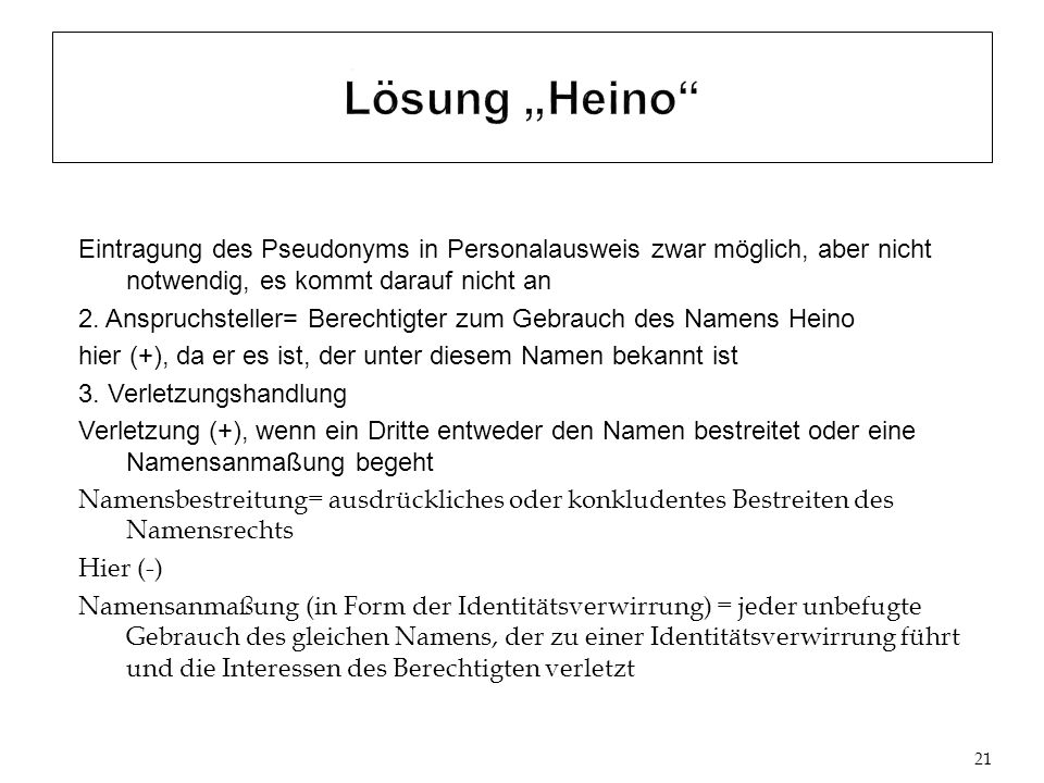 """Lösung """"Heino"""