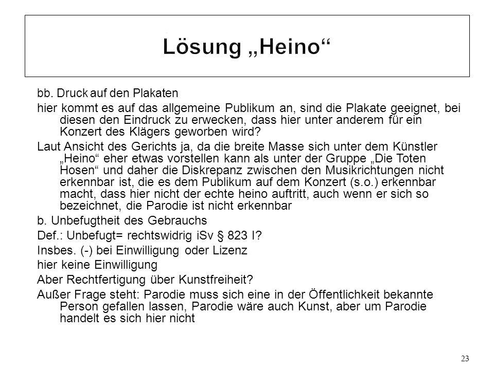 """Lösung """"Heino bb. Druck auf den Plakaten."""