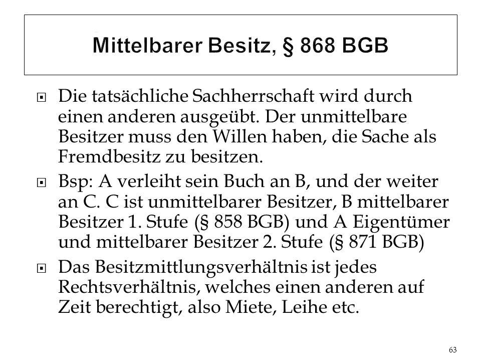 Mittelbarer Besitz, § 868 BGB