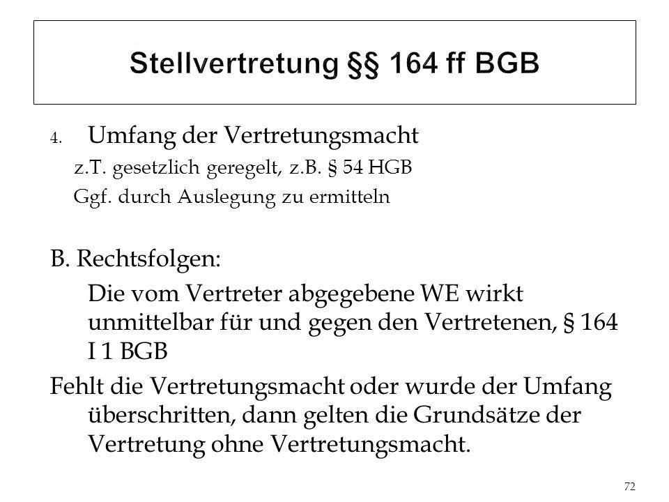 Stellvertretung §§ 164 ff BGB