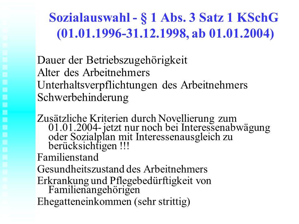 Sozialauswahl - § 1 Abs. 3 Satz 1 KSchG (01. 01. 1996-31. 12