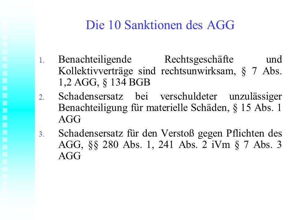Die 10 Sanktionen des AGG Benachteiligende Rechtsgeschäfte und Kollektivverträge sind rechtsunwirksam, § 7 Abs. 1,2 AGG, § 134 BGB.