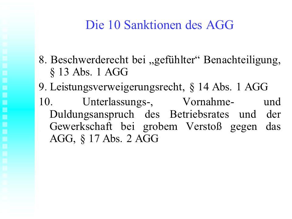 """Die 10 Sanktionen des AGG 8. Beschwerderecht bei """"gefühlter Benachteiligung, § 13 Abs. 1 AGG. 9. Leistungsverweigerungsrecht, § 14 Abs. 1 AGG."""