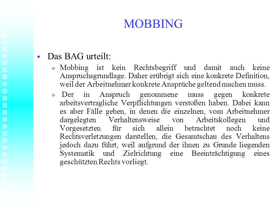 MOBBING Das BAG urteilt: