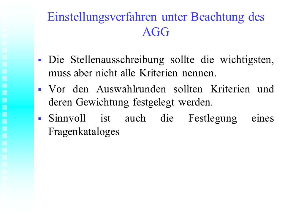 Einstellungsverfahren unter Beachtung des AGG