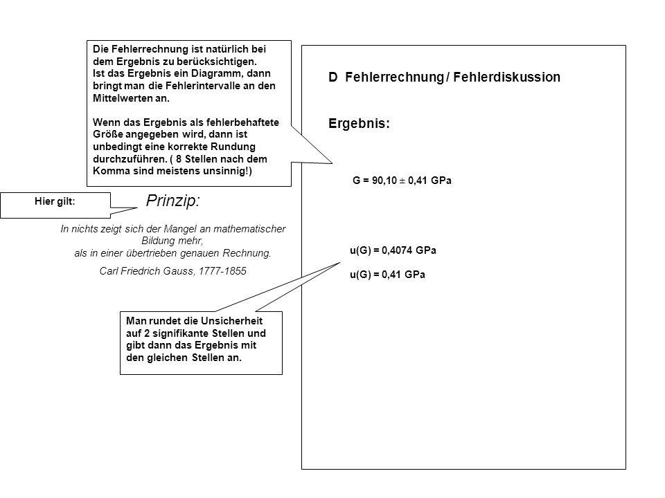 Prinzip: D Fehlerrechnung / Fehlerdiskussion Ergebnis: