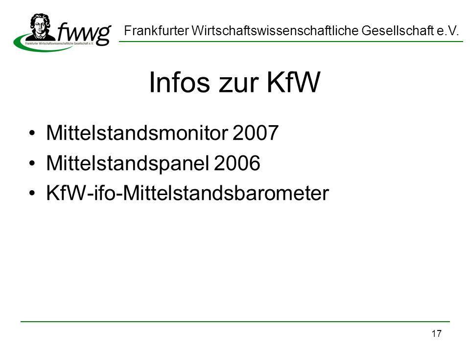 Infos zur KfW Mittelstandsmonitor 2007 Mittelstandspanel 2006