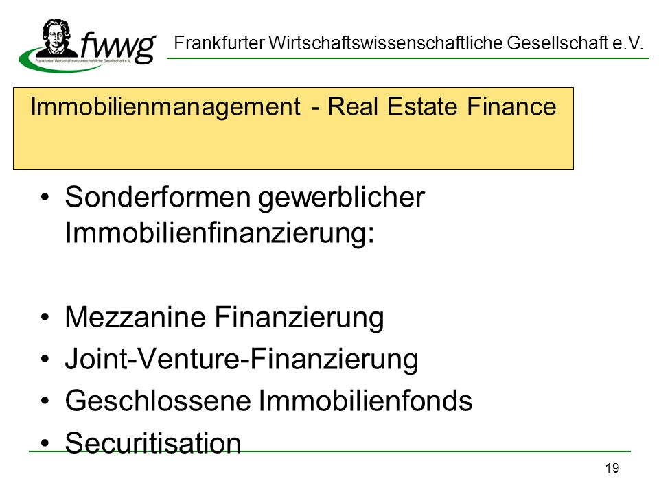 Immobilienmanagement - Real Estate Finance